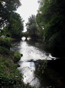 view downstream across mill pool to bridge, glimpse of picnickers on grass