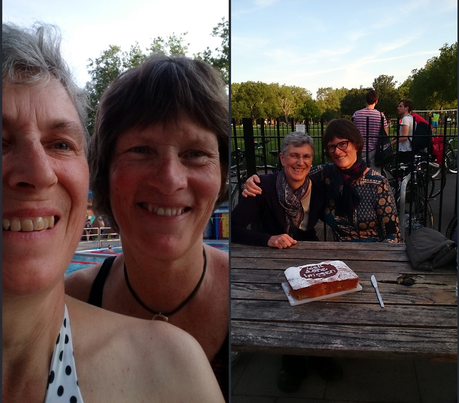 two women selfie, and photo of them with cake iced with 'Well done Imogen'