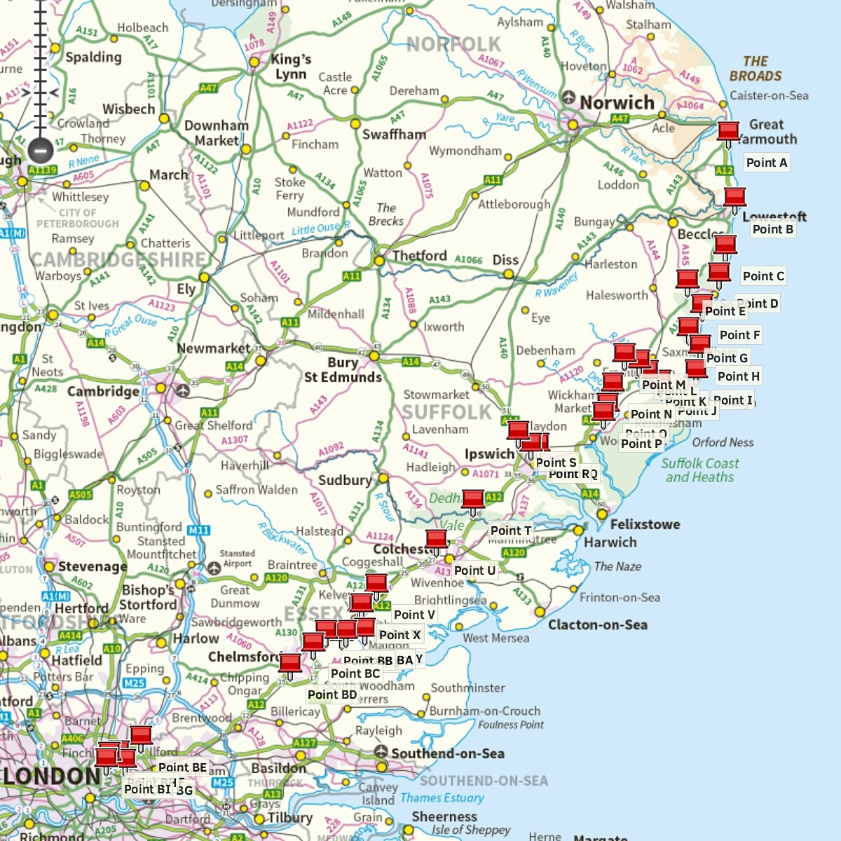 Road map with pins showing swim spots along A12 from Great Yarmouth to London