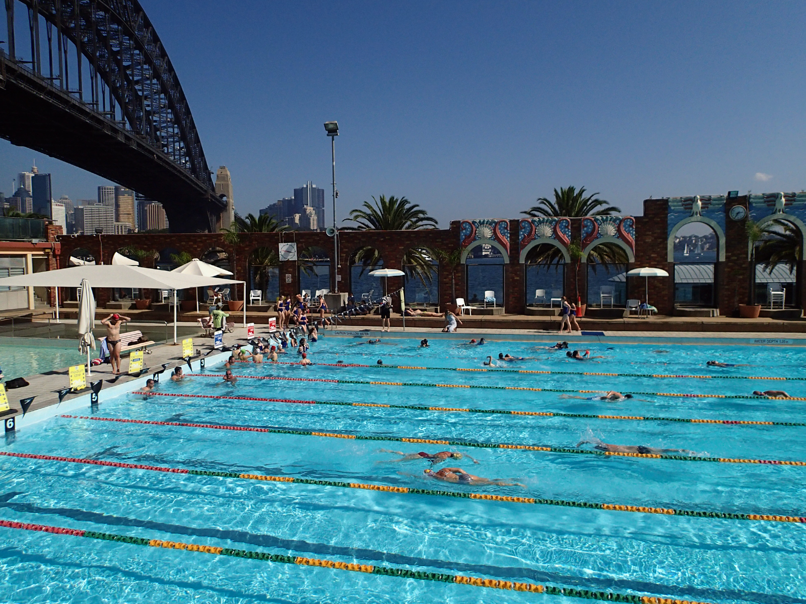 outdoor swimming pool on a sunny day, decorative wall, and Sydney Harbour bridge in background