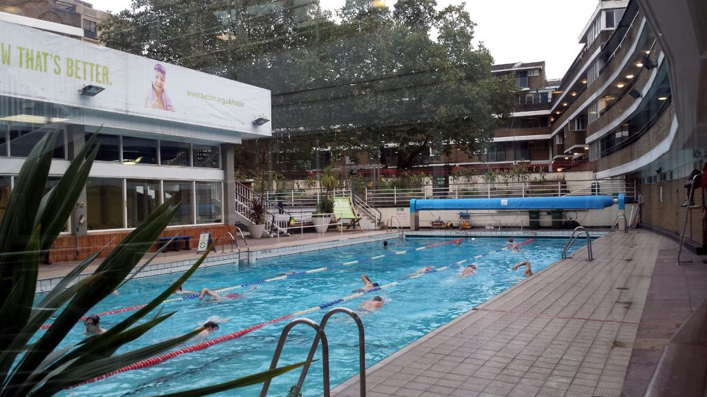 outdoor pool with swimmers