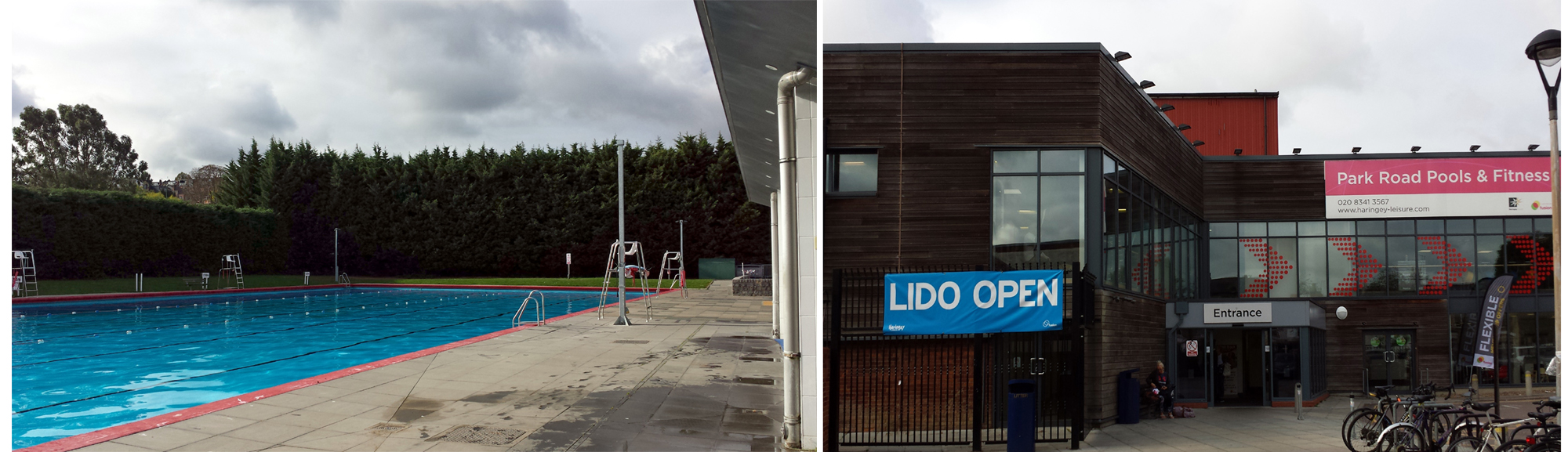 outdoor pool and front of building with banner 'lido open'