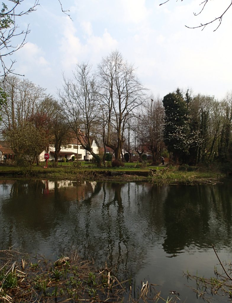 View across the river to pub and its garden
