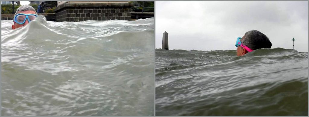 two photos of Imogen nearly obscured by large waves