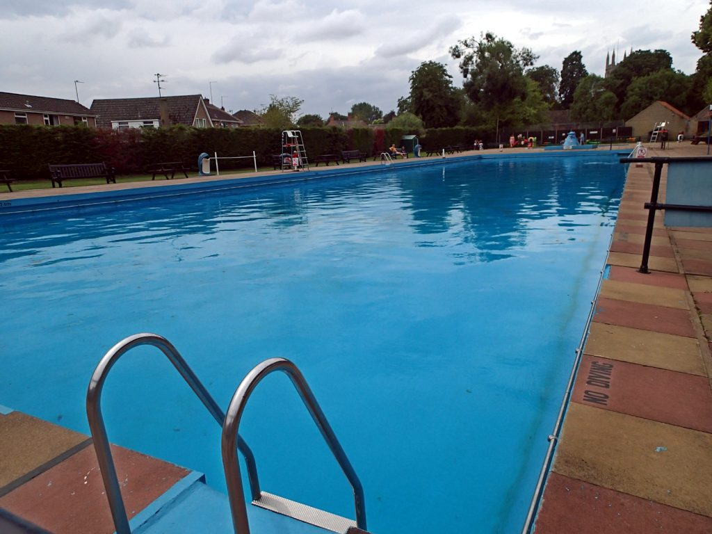 outdoor pool and steps