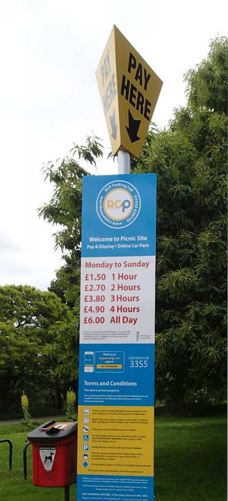 notice on parking pay point