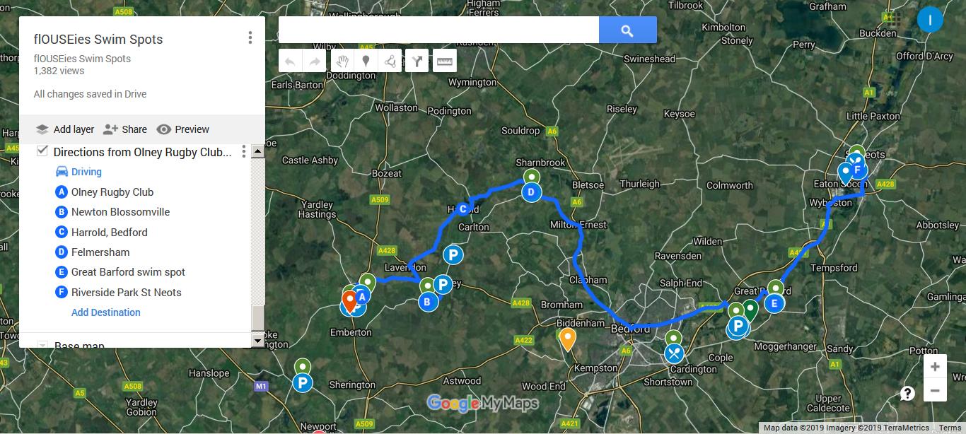 screenshot 6 Ouse swim spots, link to live Googlemap