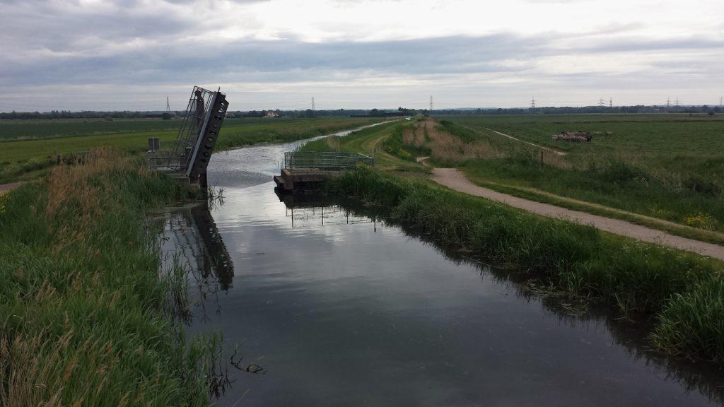 stretch of waterway, open swing bridge
