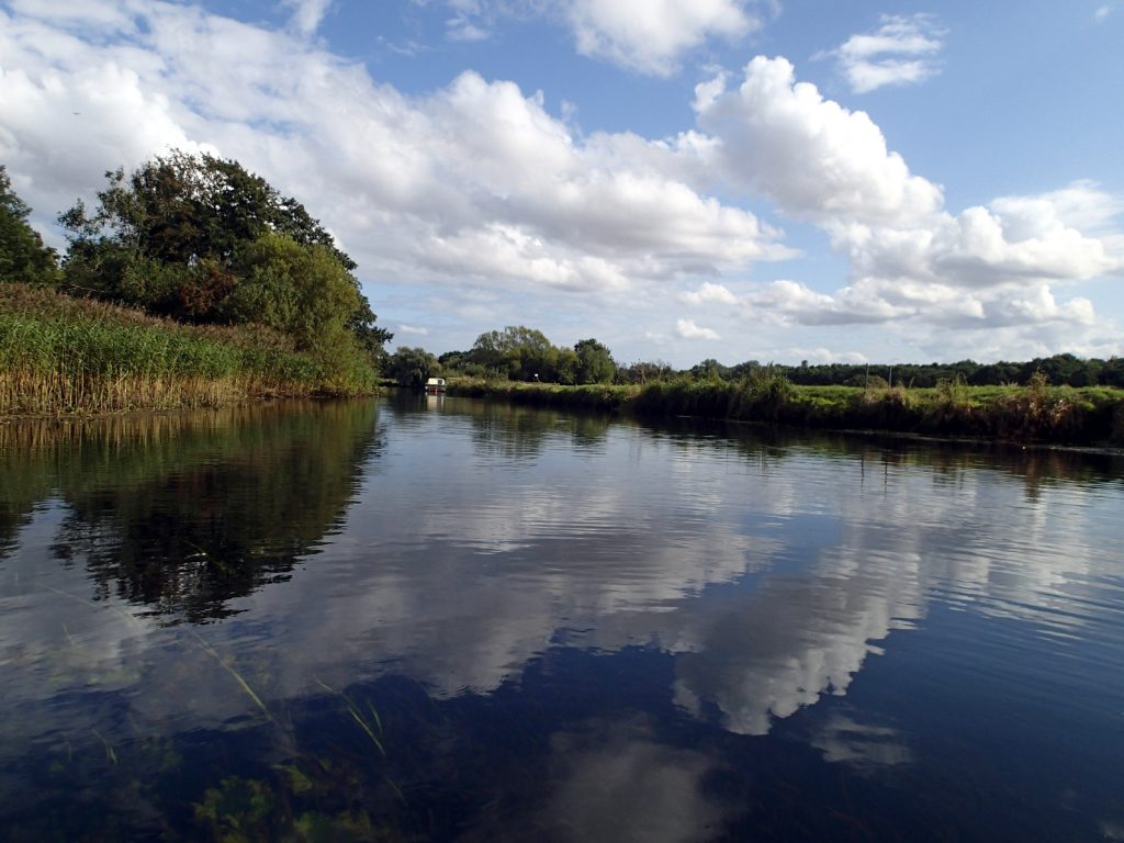 clouds reflected in the river