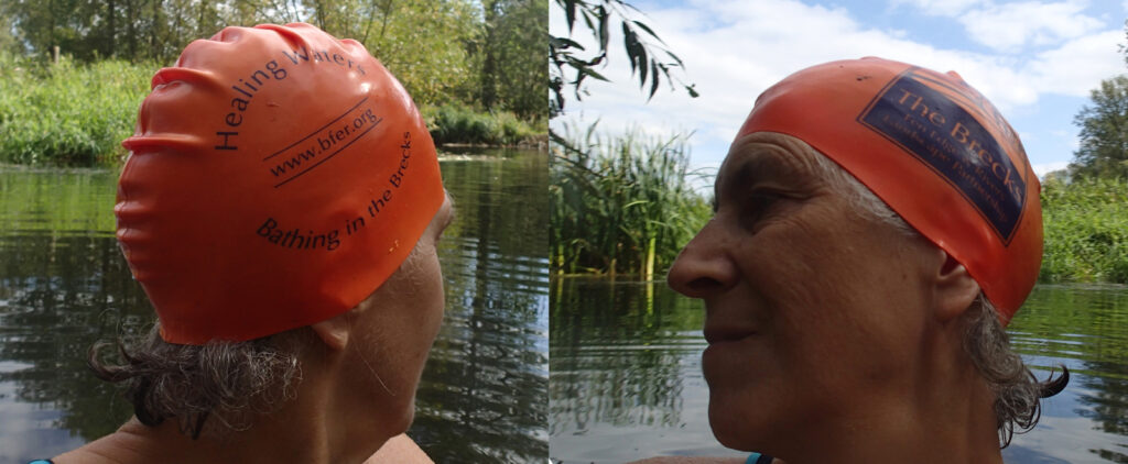 two profiles swimmer's head with hat