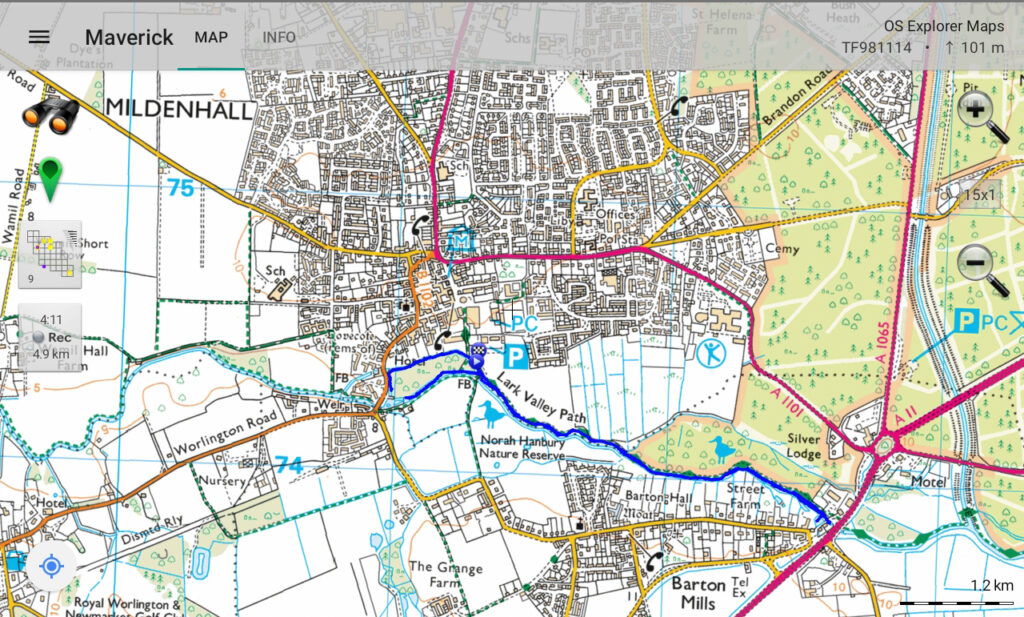 map of area showing route taken on recce